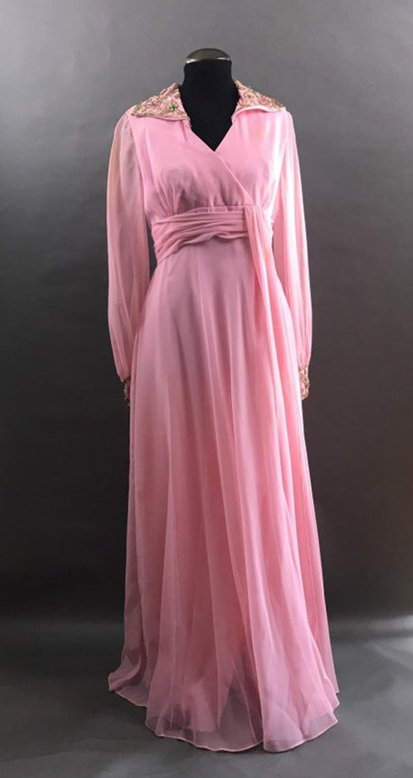 Vintage Formal Dress, Long Pink Chiffon Dress with Sash, Beaded Collar and Cuffs, Prom Dress, Long Sheer Sleeves,DR4583