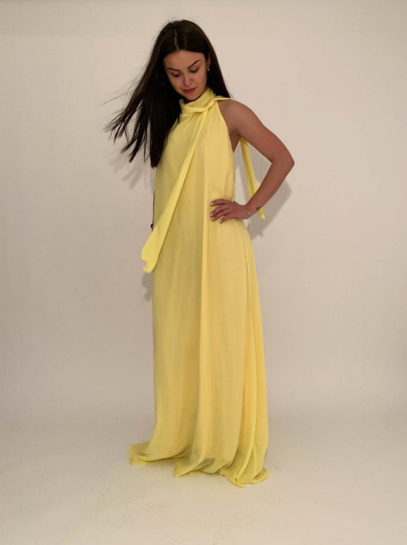 Floor Length Dress/Summer Dress/Cotton Dress/Loose Dress/Long Dress/Maxi Tunic/Beach Dress/Yellow Dress/Open Back,DR4584