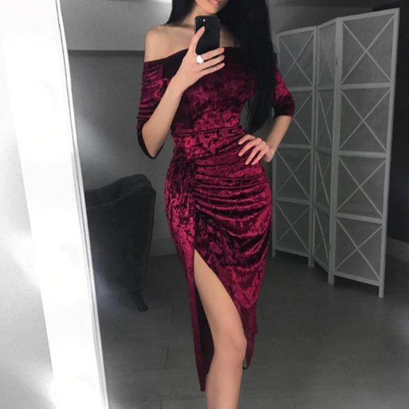 Off Shoulder Velvet Long Sleeve Bodycon Dress with Slit,DR4599