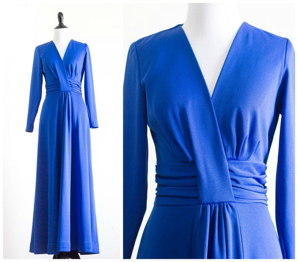 royal blue long sleeve floor length dress,DR4616