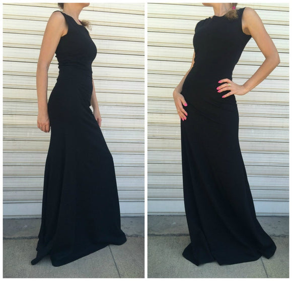 Women Black Sleeveless Dress / Long Elegant Dress / Maxi Party Dress / Sexy Fitted Dress,DR4626