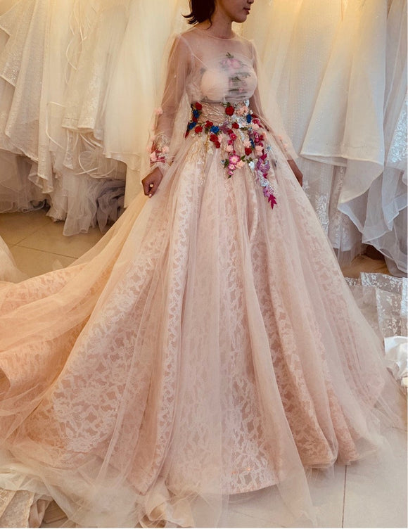 Vintage sweet pink lace long sleeves or cap sleeves ball gown wedding/prom dress with multi-colored flowers or beadings,DR4627
