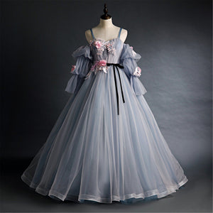 Dreamy Pink&Gray Quinceanera Dress Long Bishop Sleeves Prom Dress Off-the-Shoulder Bridal Gown Spaghetti Strap Bridal Gown Wedding Gown,DR4628