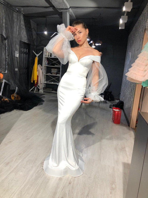 Sexy Deep V neck Prom Dress Mermaid Trumpet Wedding Gown wedding dress, slim wedding dress,DR4629