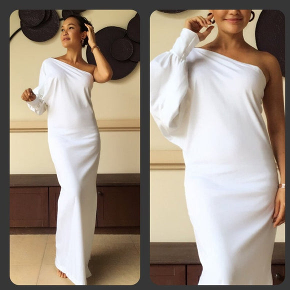 White one shoulder evening long dress long sleeve Elegance all size,DR4630