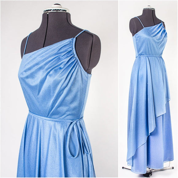 Powder Blue Chiffon Asymmetrical Evening Gown,DR4635