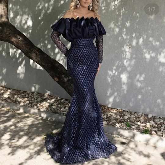 mermaid prom dresses 2021 off the shoulder ruffle organza long sleeve sequins sparkly navy blue evening dresses gowns,DR4655