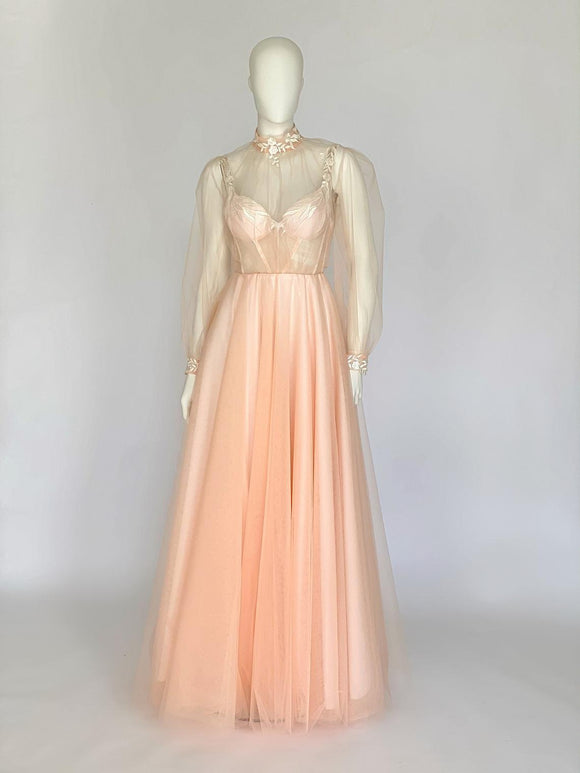 Peach color wedding dress,Bridal gown, with a weightless blouse. Corset, Neckline on the back.Collection 2021,DR4659