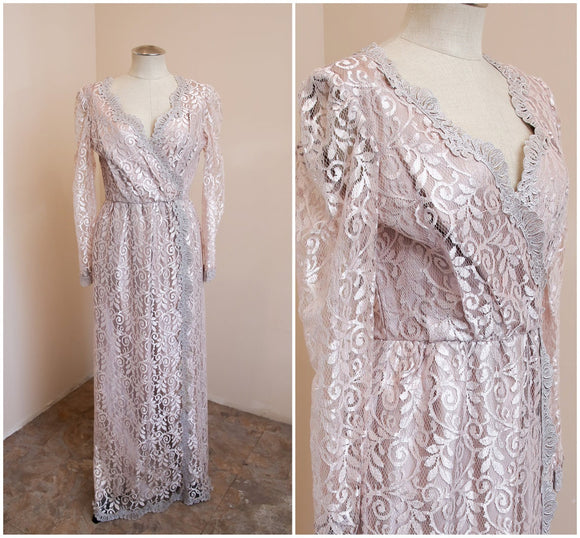 Champagne Bridesmaids Dress | Vintage JC Penny Mauve Lace Gown | Boho Party Evening wear Cocktail | Long Sleeve Wrap Front Maxi ,DR4671