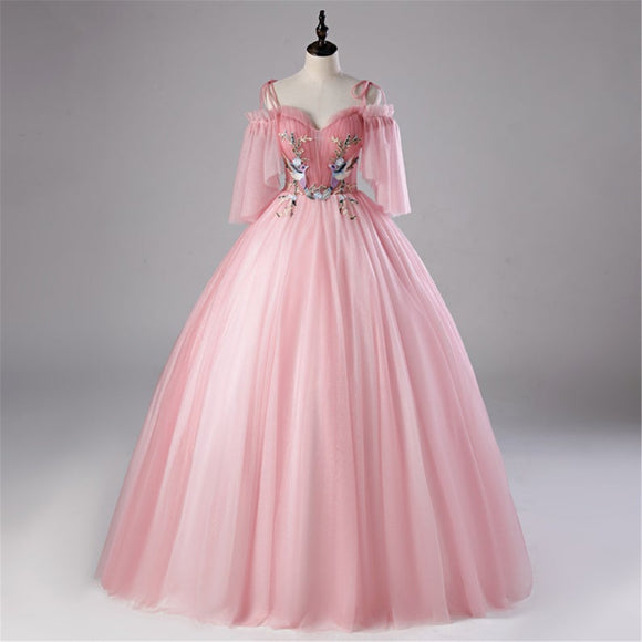 Romantic Pink Quinceanera Dress Illusion Sleeves Prom Dress Sweetheart Bridal Gown Spaghetti Strap Bridal Gown Lace Up Back Wedding Gown,DR4677