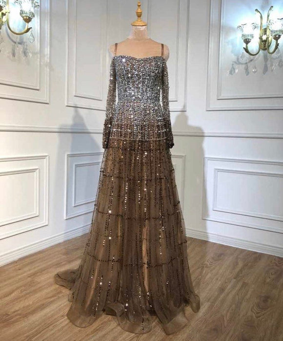Luxury off the shoulder long sleeve Asymmetrical Evening Dress Heavy Beading Sequined Formal Party Wear Gown dubai evening dress,DR4680