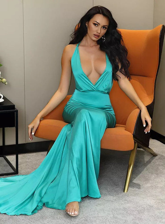 Sexy Deep V-Neck Open Back Bodycon Fishtail Shape Reflective party long maxi evening Dress,DR4706