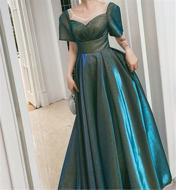V neck Blue-Green Prom Dress,Prom Dress With Sleeves,Unique Bridesmaid Dress,Short Sleeves Evening Dress,Prom Gown Green,Bridal Gown Satin,DR4712