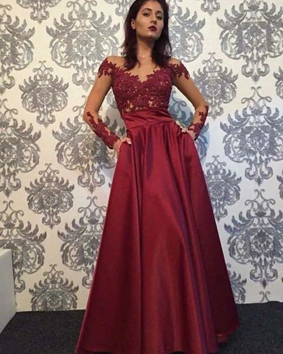 Free Shipping Sparkly Elegant A-Line Sheer Neck Long Sleeve Burgundy Satin Long Prom Evening Dresses with Lace ,DR4736