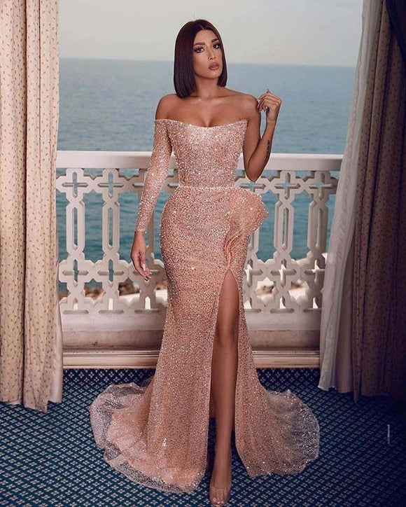 Free Shipping Sexy Mermaid Strapless Long Sleeves Off the Shoulder Blush Sequins Long Prom Evening Dresses with High Slit,DR4737