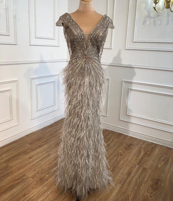 Luxury Feathered V neck Evening Dress Heavy Beading Sequined Formal Party Wear Gown dubai evening dress,DR4740
