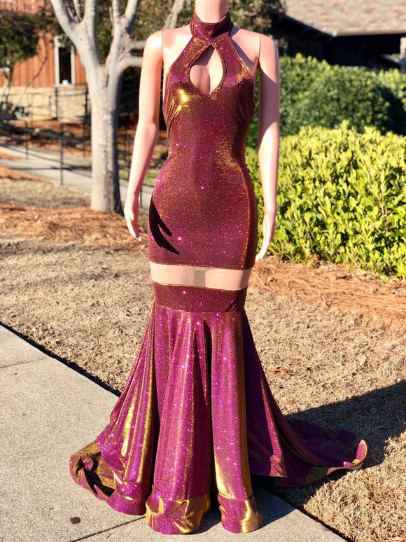Prom dress| Glitter dress| Evening gown| Keyhole gown| Mermaid gown| Prom 2021| Prom gown| Purple prom dress| Iridescent dress,DR4744