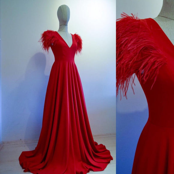Red Crepe Scoop Neckline Prom Dress With Ostrich Feathers Custom Made,DR4756