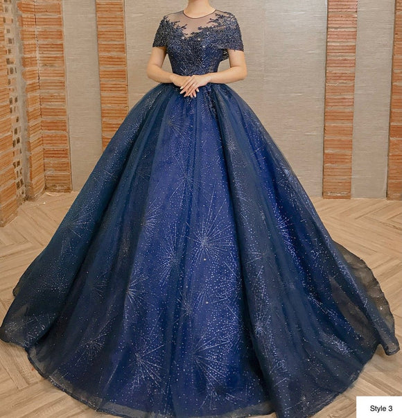 Royal blue/navy sparkly beaded lace ball gown wedding/prom dress with glitter tulle,DR4765