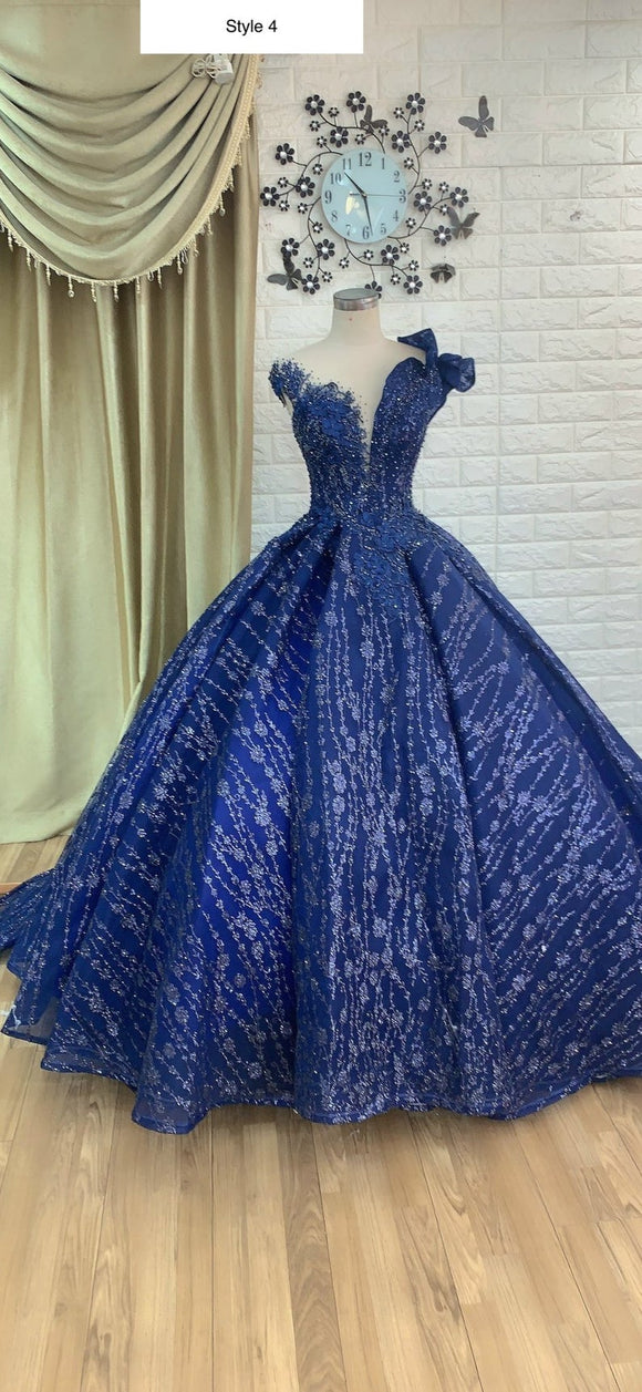 Royal blue/navy sparkly beaded lace ball gown wedding/prom dress with glitter tulle,DR4766