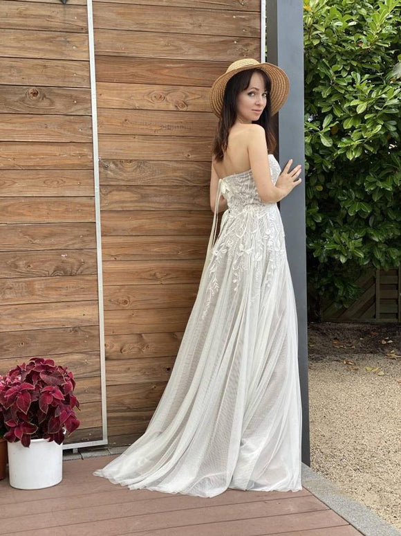 Nude wedding dress, Bridal gown A-line Maxi dress Corset Lacing Melissa. Collection 2021,DR4819