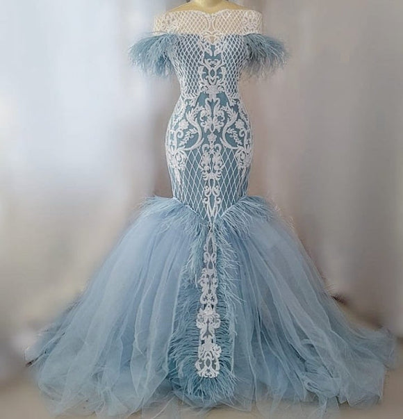 Luxury blue feather mermaid dress,DR4868