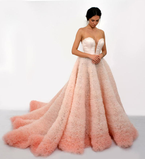 Ombre dress in pink, Sleevless ball gown, Long dress with corset, Unique handmade couture dress, Pink prom dress, Long evening dress,DR4881