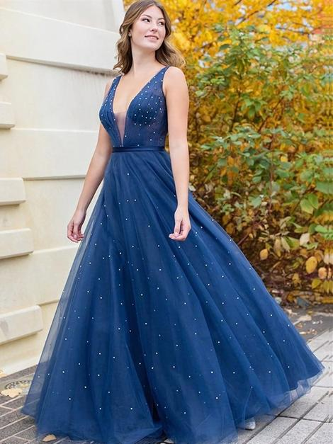 A Line V Neck Beaded Navy Blue Long Prom Dresses, V Neck Dark Blue Tulle Long Formal Evening Dresses,DR4992