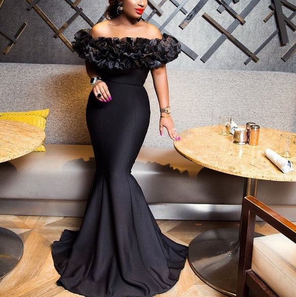 Homecoming dresses/bridesmaids dresses/african wedding dress/black mermaid wedding reception dress/african party dress/occasion dress,DR5211