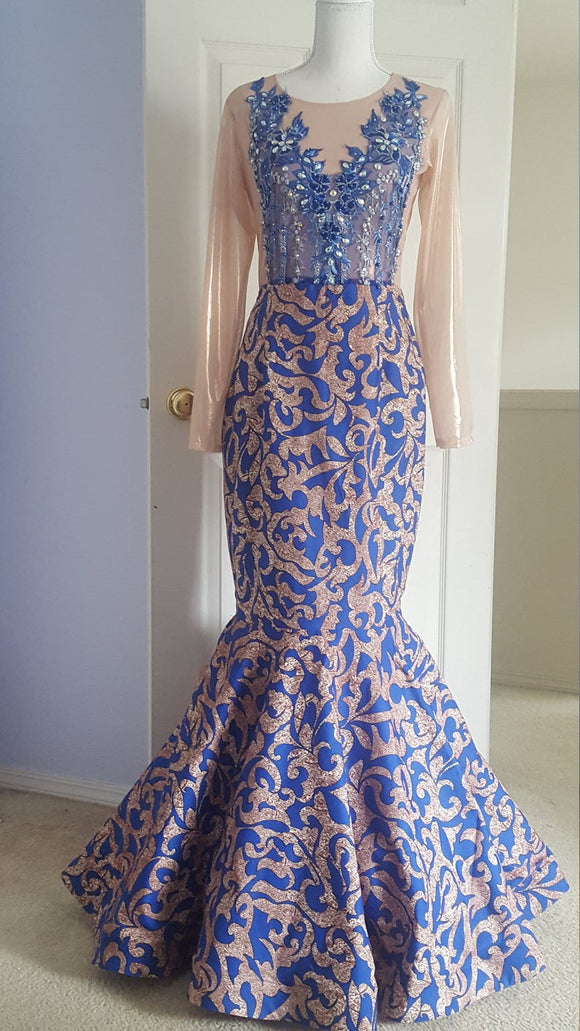 Royal Blue Prom dress/Prom Dress/African Print Prom Dress/blue Prom dresses,DR5212