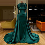 green prom dresses, 2021 prom dresses, high neck prom dresses, mermaid prom dresses, satin evening dresses, long evening dresses long sleeve evening dresses, mermaid formal dresses, cheap evening dresses,DR5298