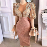 champagne prom dresses 2021, knee length prom dresses, crew neck prom dresses, long sleeve prom dresses, lace prom dresses, pleats prom dresses, cheap evening dresses, short evening dresses,DR5311