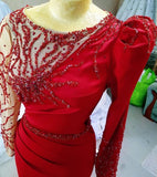 Luxury red beaded dress,DR5330