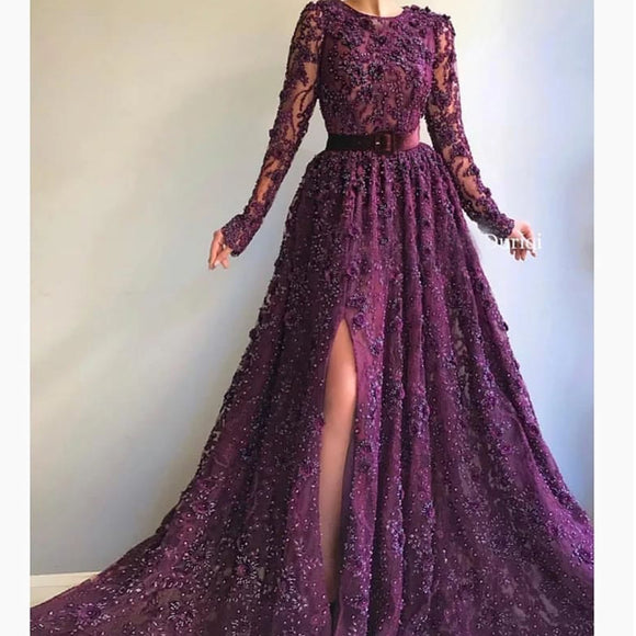 burgundy prom dresses 2021 crew neckline lace beading sequins lace long sleeve evening dresses arabic party dresses,DR5335