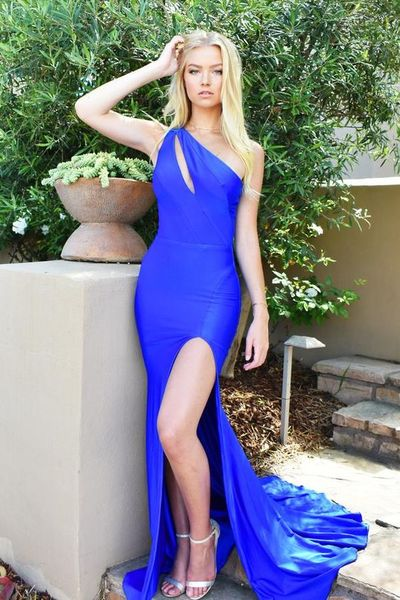 Fit Royal Blue Prom Dress,Sexy Slit Formal Party Dress,One Shoulder Evening Dress,DR5340