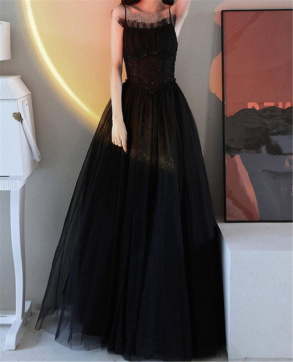 Black Spaghetti Straps A Line Floor Length Prom Dresses Sexy Backless Corset Back Evening Party Dresses Princess Sleeveless Prom Dresses,DR5384