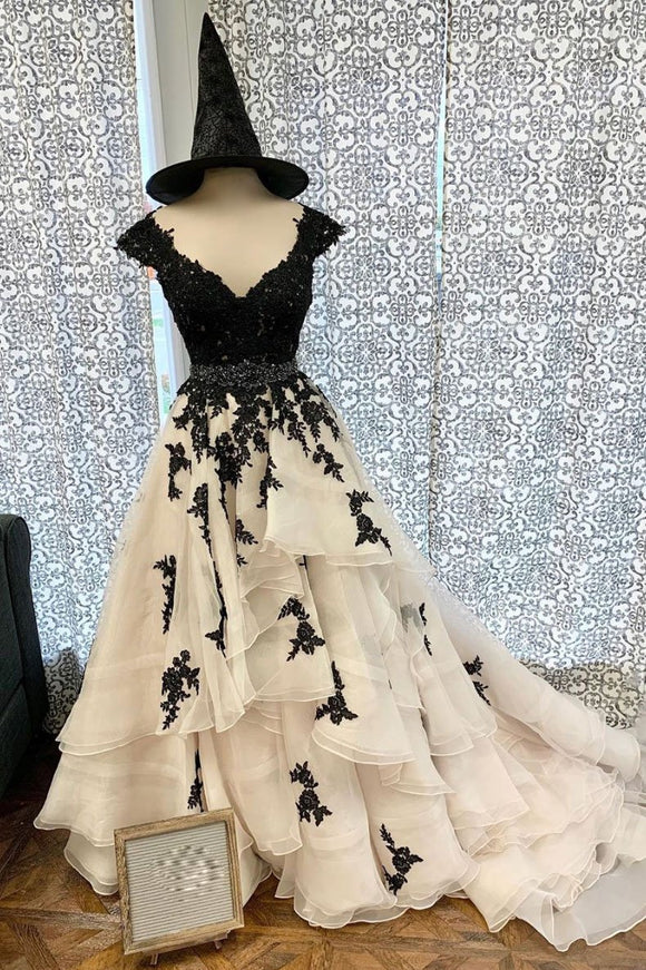 Black sweetheart tulle lace long prom dress black lace evening dress,DR5403