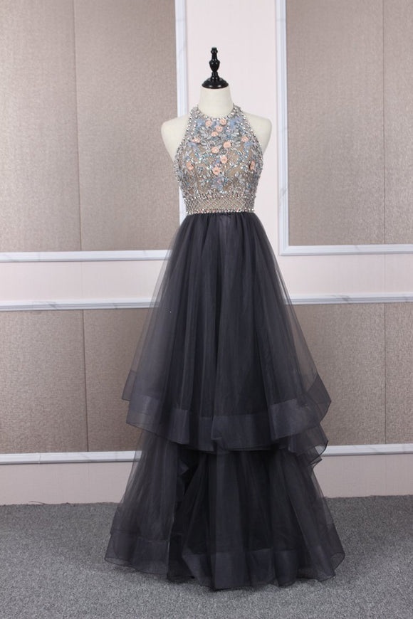 Unique tulle beads long prom dress tulle long evening dress,DR5406