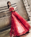 Burgundy tulle lace long prom dress, burgundy tulle evening dress,DR5417