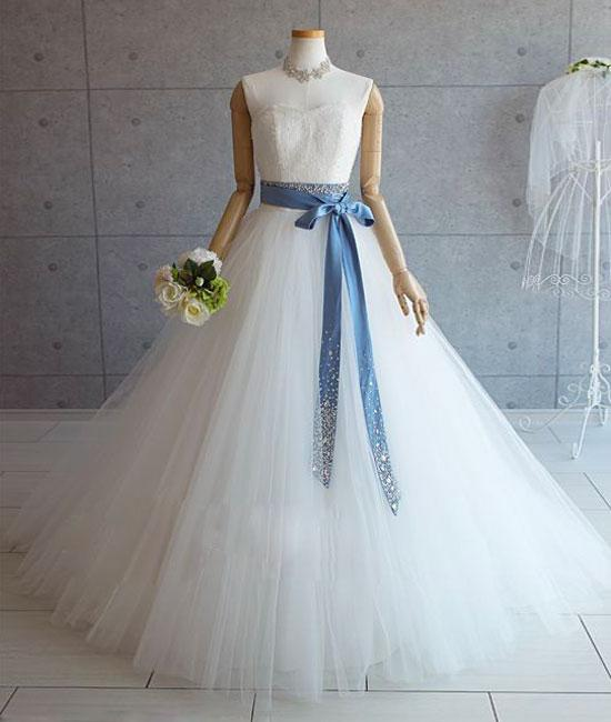 White tulle lace long pom dress, white tulle wedding dress,DR5418