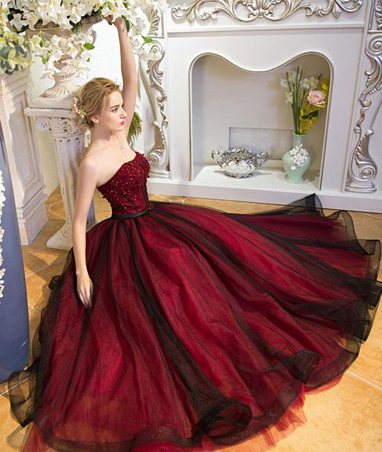Unique burgundy tulle long prom dress, burgundy evening dress,DR5420
