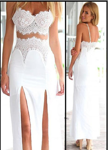 Sexy Lace Long Prom Dress with Slit, Spaghetti Straps Party Dress ,FLY060