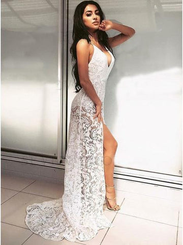 Sexy V neck Lace Long Prom Dress with Sweep Train Evening Party Dress ,FLY062