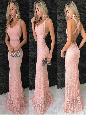 Pink Lace Prom Dresses ,FLY063