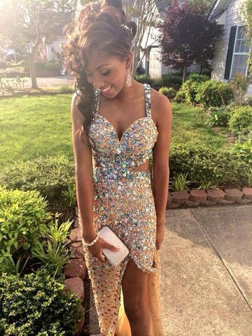 Mermaid Luxury Backless Prom Dresses,Colorful Crystal Beads Front Slit Prom Dress,Spaghetti Straps Open Back Champagne Evening Prom ,FLY074