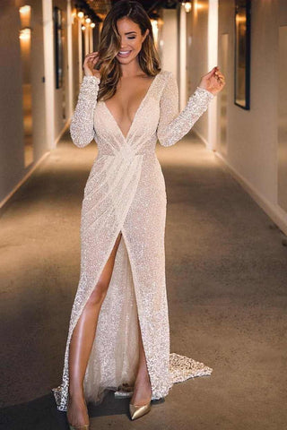 Sexy Plunging V-neck Mermaid Long Sleeves Prom Evening Dresses With Slit,FLY083