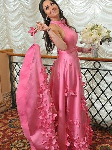 A-line Halter Light Plum Long Prom Dresses With Handmade Flowers,FLY084