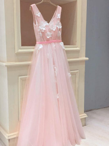 Tulle V Neck Sleeveless Pink Long Prom Dresses With Appliques,FLY089