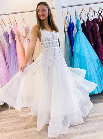 A-line V Neck Tulle Sequins Long Prom Dress, Backless Evening Dress,FLY090