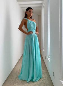 Tiffany Chiffon Long Prom Dresses, Convertible Bridesmaid Dress ,FLY092